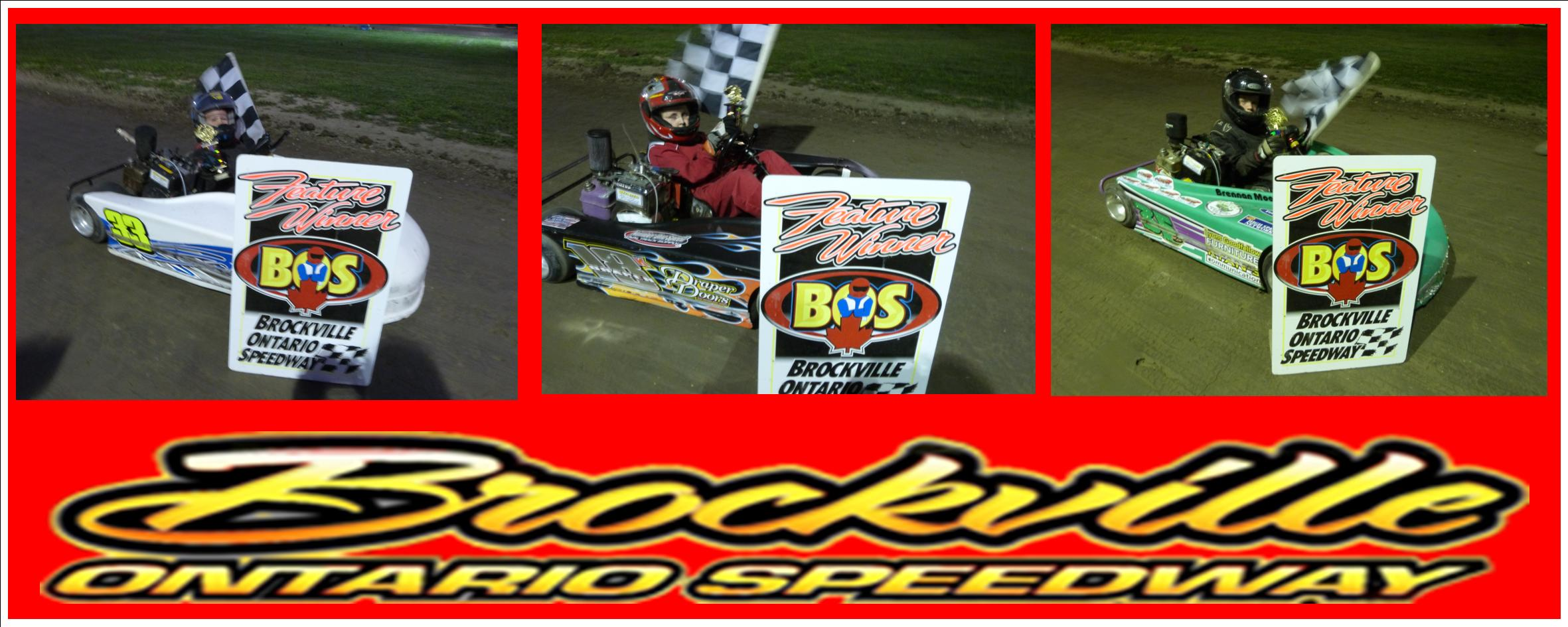 WINTERS DYLAN MOORE DRAPER BRENNAN MOORE CRAWFORD RENAUD REVELLE AND SMITH SHARE BROCKVILLE SPEEDWAY WINNERS CIRCLE