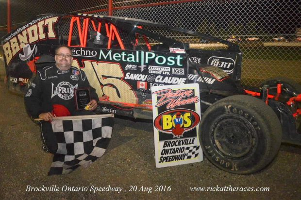 STEPHANE LAFRANCE FINALLY BREAKS INTO BROCKVILLE SPEEDWAY VICTORY LANE WITH 358 MODIFIED TRIUMPH